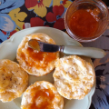 Apricot Jam on baking power biscuits